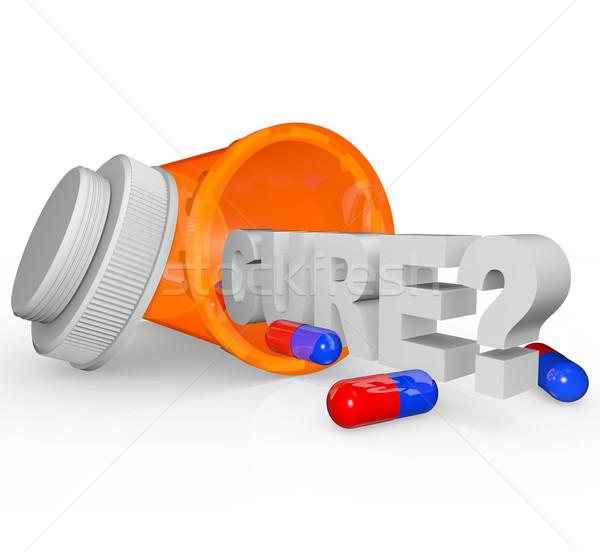Stockfoto: Fles · genezen · woord · Open · kant