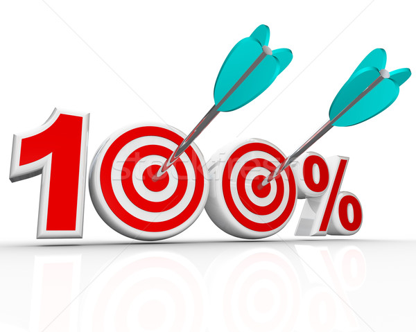 Stock photo: 100 Percent Arrows in Targets Perfect Score