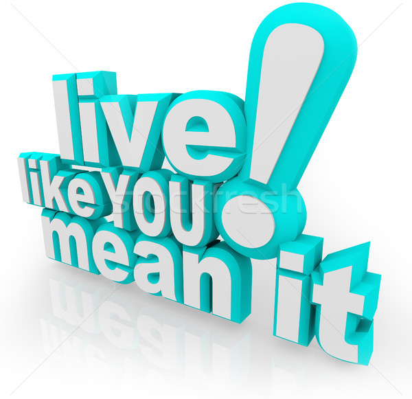 Live Like You Mean It 3D Words Saying Stock photo © iqoncept