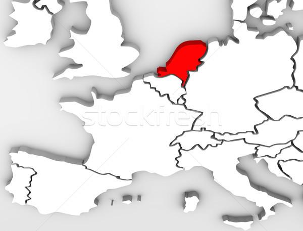 Vidék absztrakt 3D térkép Európa földrész Stock fotó © iqoncept