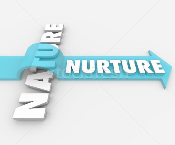 Nurture Vs Nature Arrow Over Word Psychology  Stock photo © iqoncept