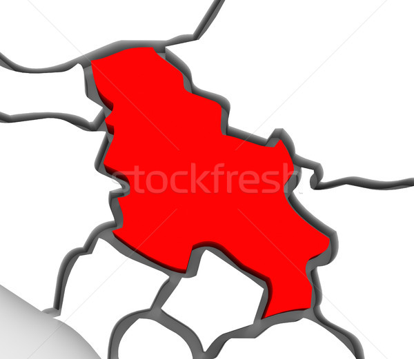 Serbia resumen 3D mapa meridional central Foto stock © iqoncept