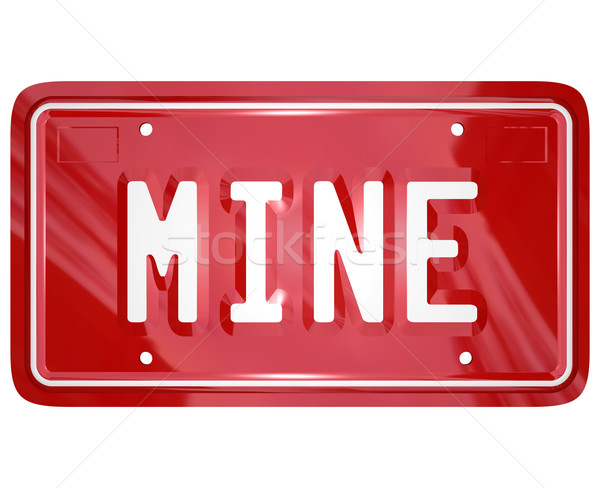 Mine Word Red Vanity License Plate Auto Car Stock photo © iqoncept