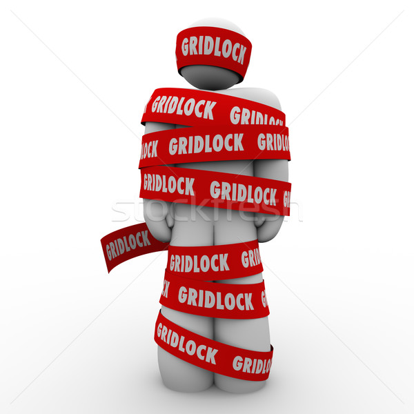 Gridlock Man Wrapped in Tape Immobile Person Bureaucracy Stoppag Stock photo © iqoncept