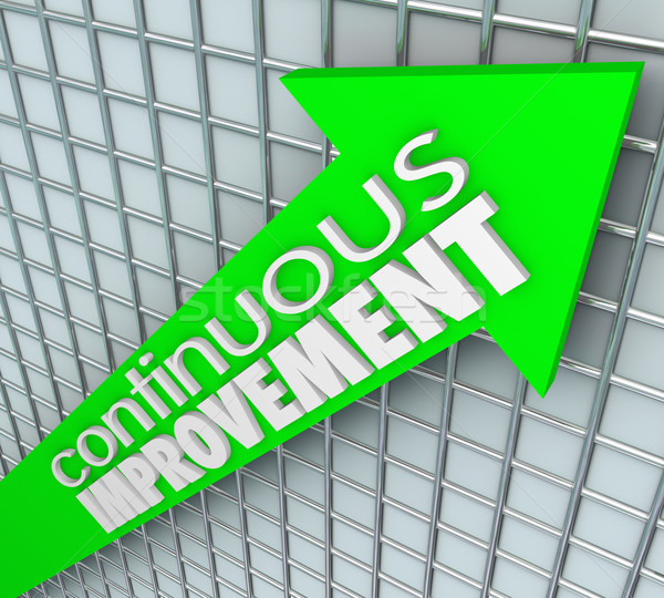 Continuous Improvement Words Arrow Chart Grid Moving Up Stock photo © iqoncept