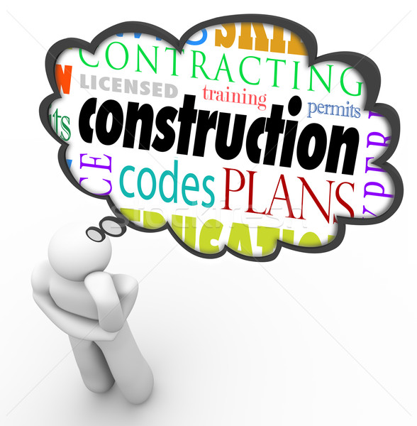 Construction License Permit Code Builder Words Thought Cloud Thi Stock photo © iqoncept