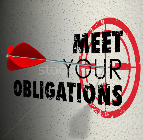 Meet Your Obligations Words Arrow Hitting Bulls-Eye Target Stock photo © iqoncept