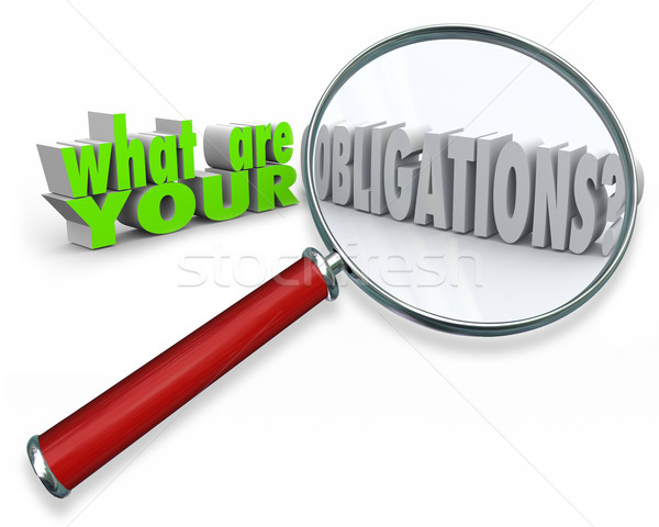 What Are Your Obligations Magnifying Glass 3d Words Stock photo © iqoncept
