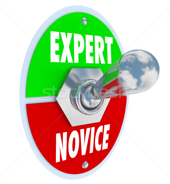 Expert Vs Novice Words Toggle Switch Veteran Skills Knowledge Stock photo © iqoncept