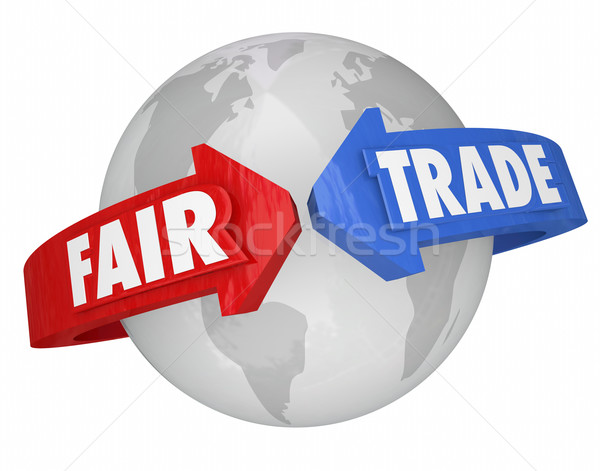 Fair Trade Arrows Around World Global Economy Living Wages Suppl Stock photo © iqoncept