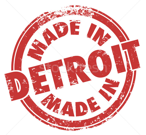 Made in Detroit Words Red Ink Stamp Grunge Badge Emblem Logo Stock photo © iqoncept