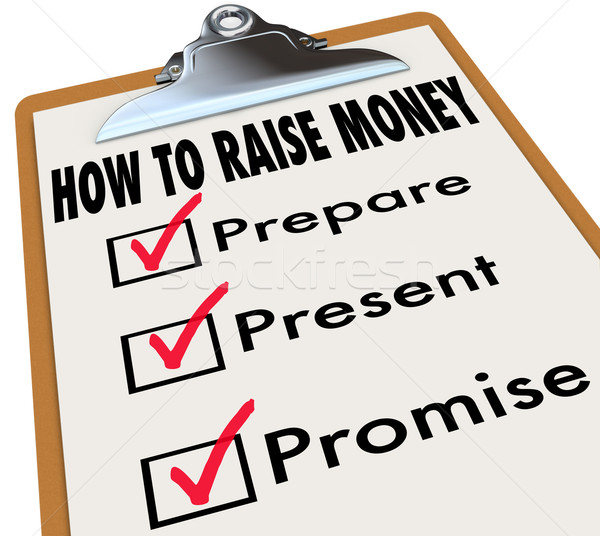 How to Raise Money Clipboard Checklist Venture Capital New Busin Stock photo © iqoncept