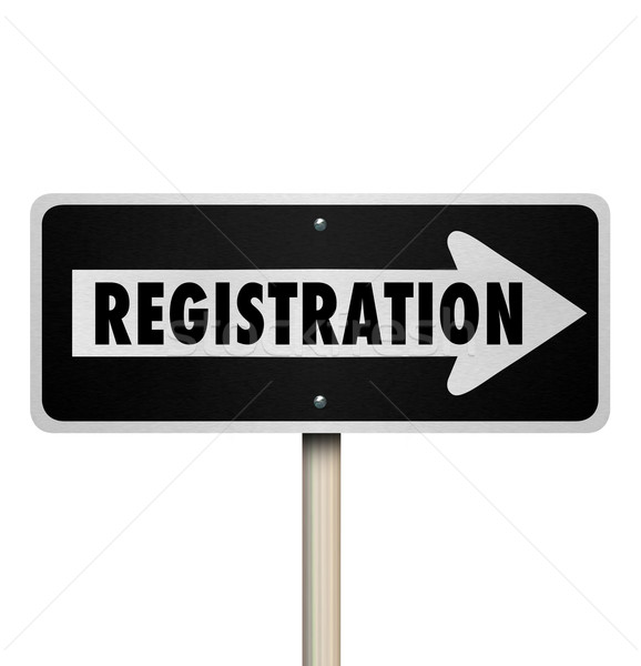 Registration One Way Road Street Sign Advertise Event Enrollment Stock photo © iqoncept