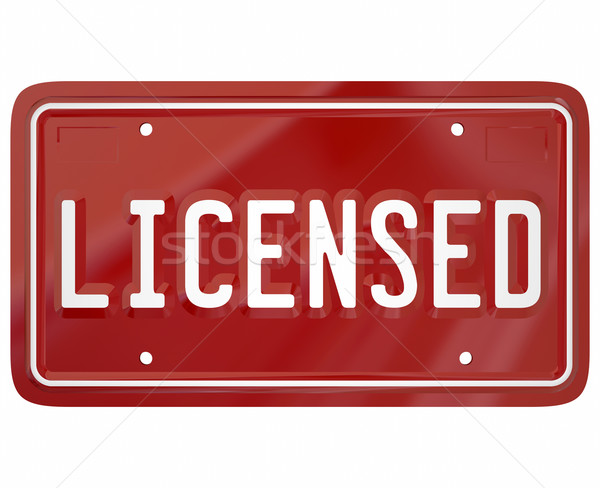 Licensed Word Plate Registered 3d Auto Vehicle Driver Licensing Stock photo © iqoncept