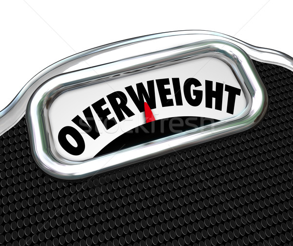 Overweight Scale Word Too Fat Overeating Lose Weight Diet Stock photo © iqoncept