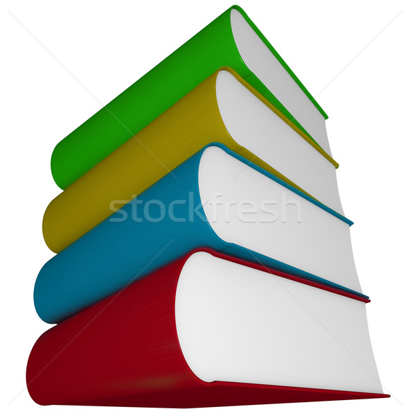 Könyv boglya négy tankönyvek köteg izolált Stock fotó © iqoncept