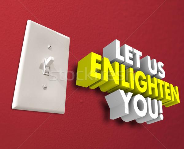 Interrupteur de lumière enseignement informations mots 3D Photo stock © iqoncept