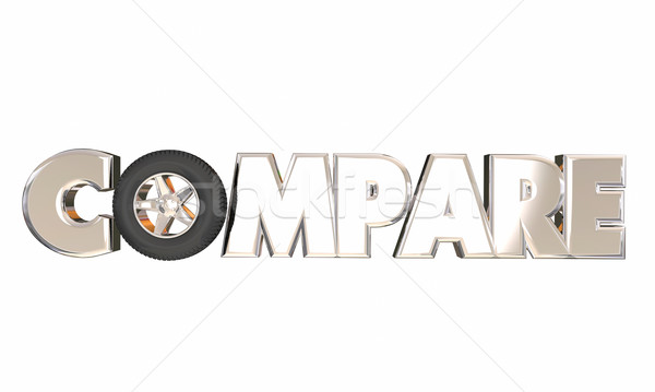 Compare Wheel 3d Word Car Auto Vehicle Shopping Best Deal Price  Stock photo © iqoncept