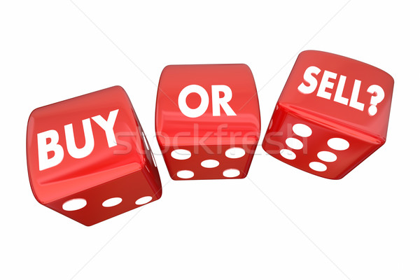 Buy or Sell Stocks Money Finances Dice Words 3d Illustration Stock photo © iqoncept