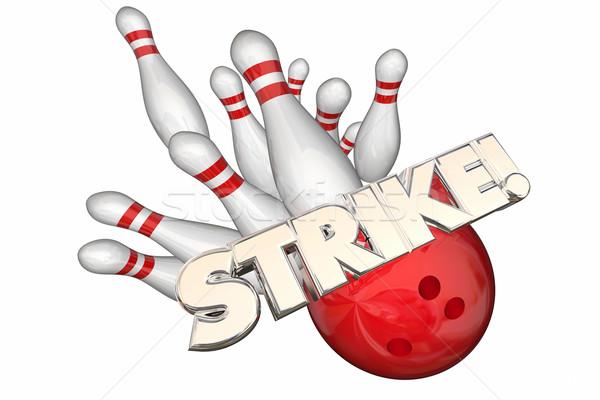 Strike Word Bowling Ball Pins Win Game 3d Illustration Stock photo © iqoncept
