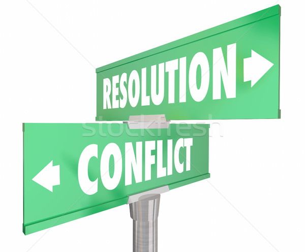 Conflict Vs Resolution 2 Two Way Road Street Signs 3d Illustrati Stock photo © iqoncept