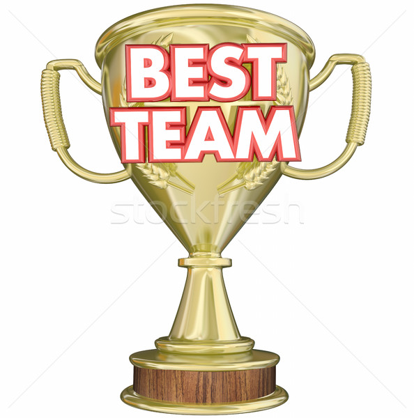 Best Team Trophy Award Prize Recognition 3d Illustration Stock photo © iqoncept