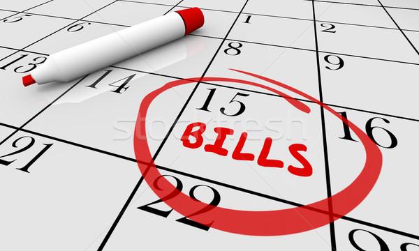 Rechnungen Datum Kalender Geld Einsendeschluss 3D Stock foto © iqoncept