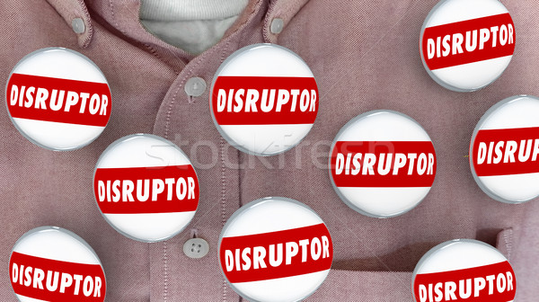 Disruptor Buttons Pins Change Agent Innovator 3d Illustration Stock photo © iqoncept