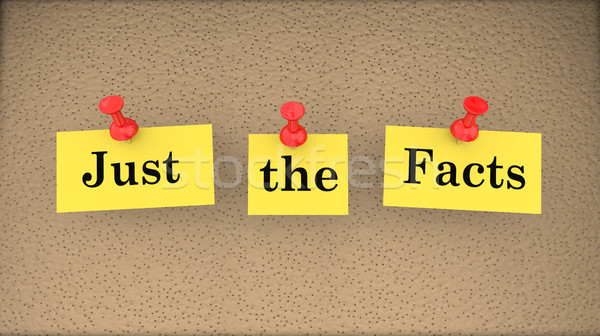 Just the Facts Basic Information Bulletin Board 3d Illustration Stock photo © iqoncept