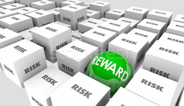 Kockázat vs jutalom visszatérés beruházás eredmények Stock fotó © iqoncept