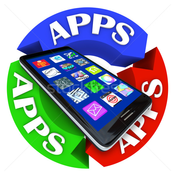 Apps on Smart Phone Circular Arrow Pattern Design Stock photo © iqoncept
