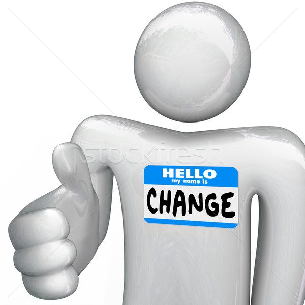 Foto stock: Hola · mi · nombre · cambio · persona