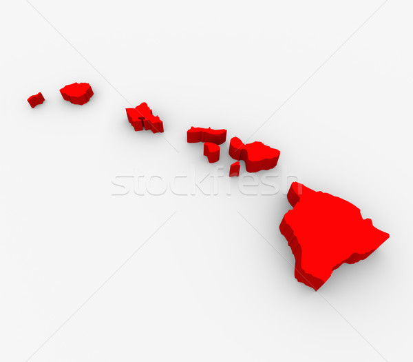 Hawaii Red Abstract 3D State Map United States America Stock photo © iqoncept