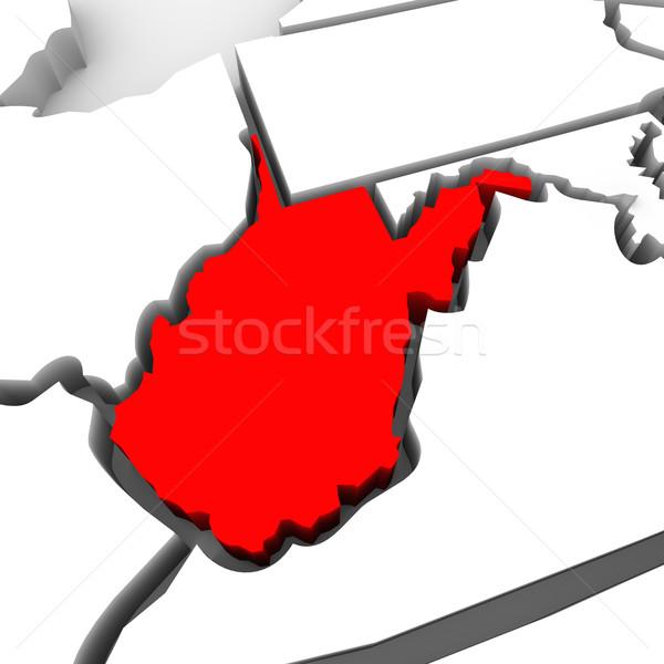 Nyugat-Virginia piros absztrakt 3D térkép Egyesült Államok Stock fotó © iqoncept