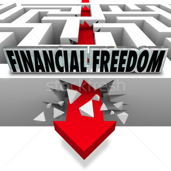 Financial Freedom Break Through Money Problems Bankruptcy Bills Stock photo © iqoncept