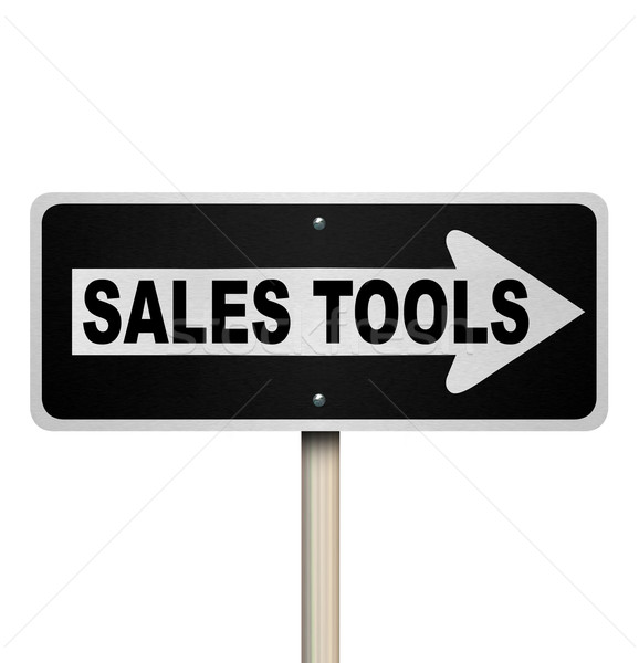 Sales Tools One Way Road Sign Selling Techniques Stock photo © iqoncept