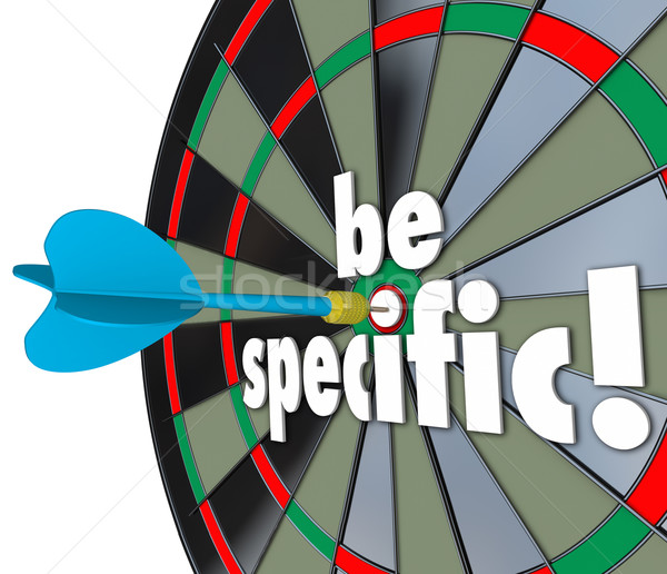 Be Specific Words Dart Board Targeting Details Explicit Directio Stock photo © iqoncept