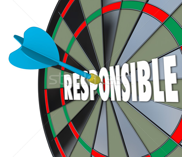 Responsible Word Dart Board Accountable Reliable Meet Obligation Stock photo © iqoncept