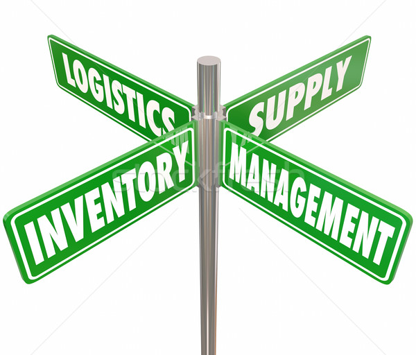 Inventory Management Logistics Supply Control 4 Way Road Signs Stock photo © iqoncept