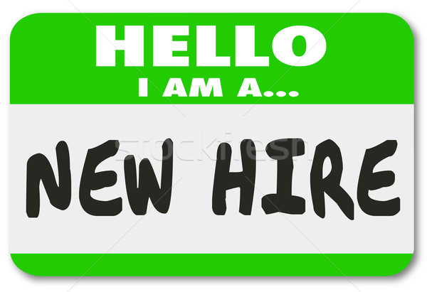 New Hire Nametag Sticker Green Employee Rookie Fresh Talent Stock photo © iqoncept