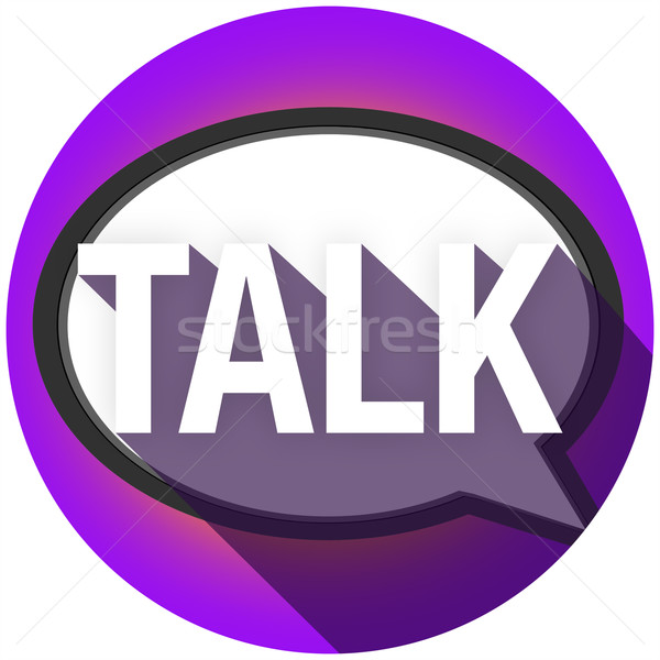 Talk Word Long Shadow Speech Bubble Communication Circle Stock photo © iqoncept