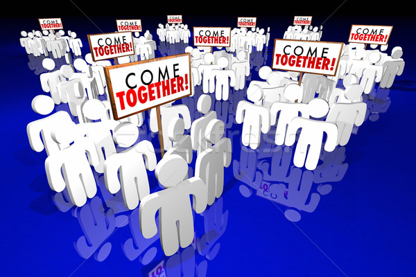 Stock photo: Come Together People Gathering Signs 3d Animation
