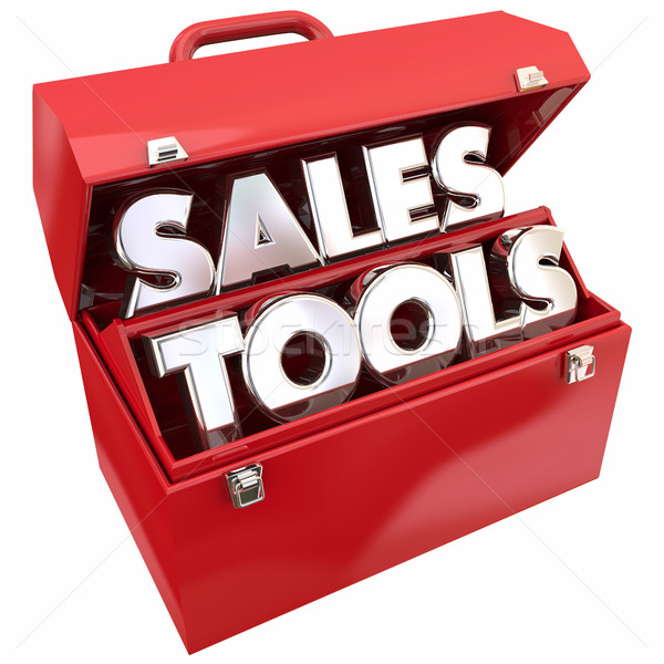 Sales Tools Selling Resources Toolbox Words 3d Illustration Stock photo © iqoncept