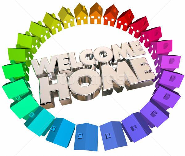 üdvözlet otthon üdvözlet visszatérés hát házak Stock fotó © iqoncept