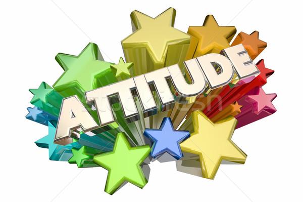 Attitude Positive Outlook Stars Word 3d Illustration Stock photo © iqoncept