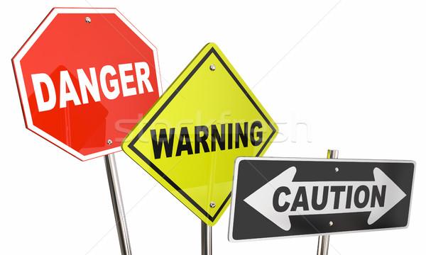 Gefahr Warnung Vorsicht stoppen Ausbeute Straße Stock foto © iqoncept