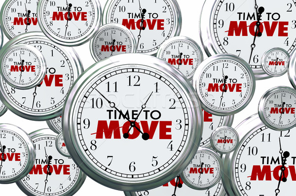 Time to Move Clocks Flying By Take Action Now 3d Illustration Stock photo © iqoncept
