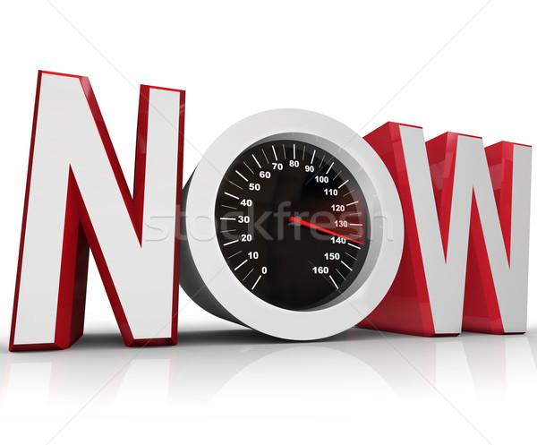 Now Speedometer Racing to Beat Urgent Deadline Stock photo © iqoncept