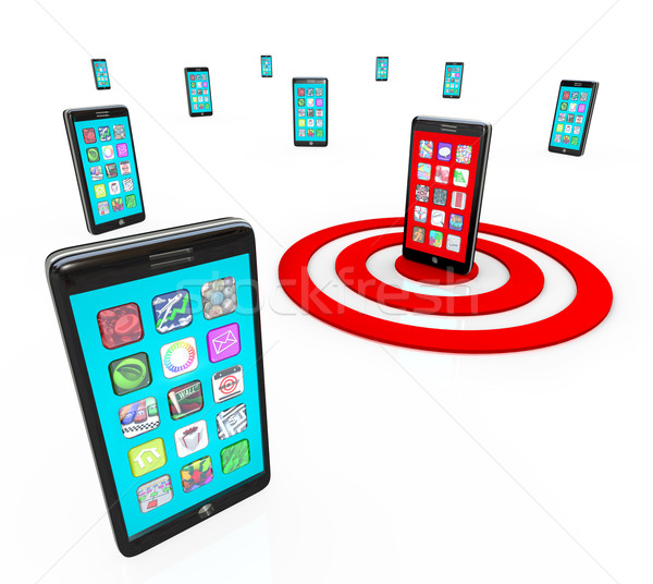 Stock photo: Targeted Smart Phone Application Icons for Apps
