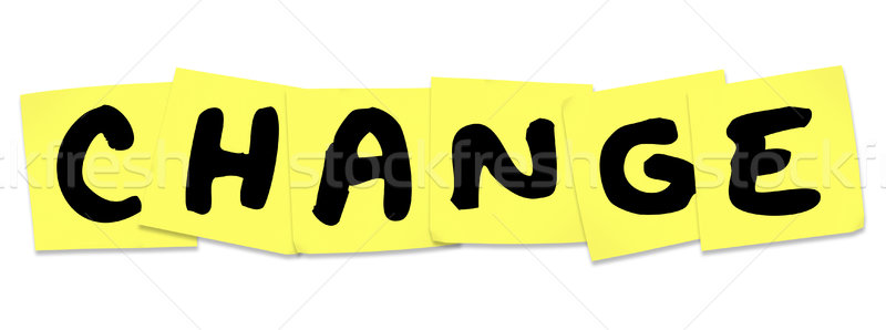 Cambio palabra amarillo notas adhesivas recordatorio Foto stock © iqoncept